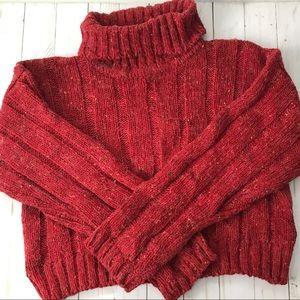 Topshop Red Specked  Wool Turtleneck Crop Sweater